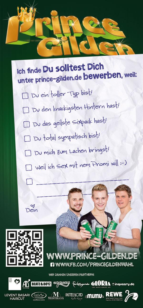 """Prince Gilden 2015 """"Bewirb Dich jetzt!"""" Flyer DIN lang hinten"""