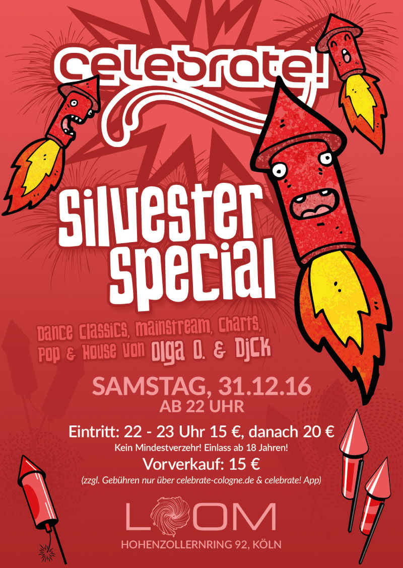 celebrate! Silvester 2016/17 Flyer A6 vorne