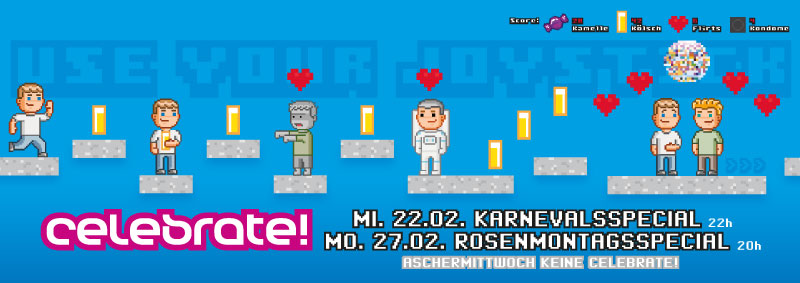 """celebrate! """"Use your Joystick"""" Flyer DIN A5 LANG (quer) vorne"""